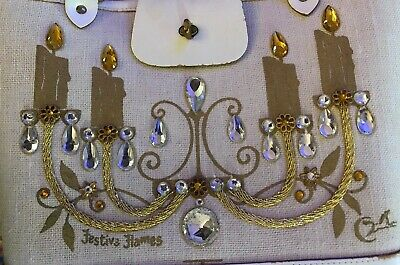 "$150 • Buy RARE E.Collins Of Texas Vintage ""Festive Flames  Crystal Brass Chandelier Purse"