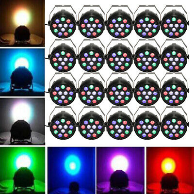 20PCS Par Lights 12LED RGBW 15W Uplighting Sound Activated Strobe DJ Party A3B7 • 173.96$