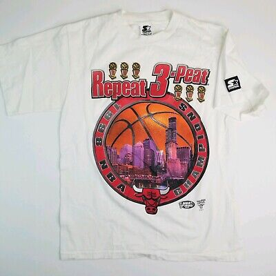 a50dac5c7b9 Starter 1998 NBA Finals Repeat 3 Peat Chicago Bulls T Shirt Sz YXL Mens S  VTG