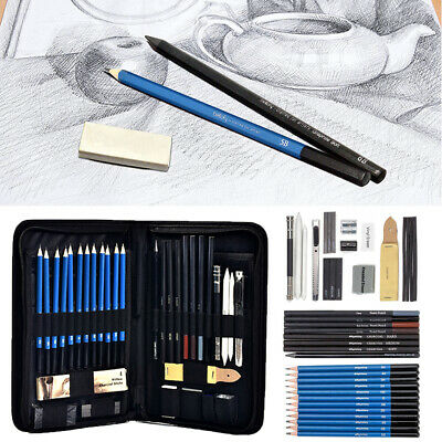 42pc Professional Sketching Drawing Set Art Pencil Kit Artists Graphite Charcoal • 13.15£