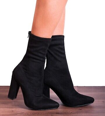 Black Sock Pull On Stretch Ankle High Block Heeled Boots Shoes Size 3 4 5 6 7 • 21.95£