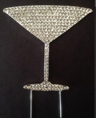 Silver Champagne Flute Crystal Glass Cake Topper Decoration Engagement Cocktail • 6.95£