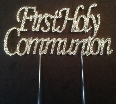 Large Silver 1st First Holy Communion Cake Topper Decoration Party Boy Girl Uk • 6.95£