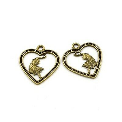Year Of The Tiger Charm/Pendant Tibetan Antique Bronze 24mm  10 Charms Accessory • 2.09£