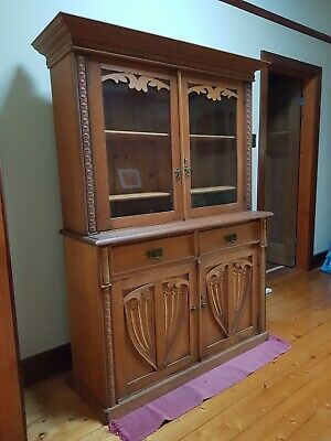 AU1250 • Buy Antique Edwardian Oak Bookcase - Dresser