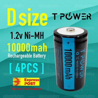 AU41.60 • Buy 4x Tpower Heavy Duty 1.2V D Size 10000mAh Ni-MH Rechargeable NIMH Battery