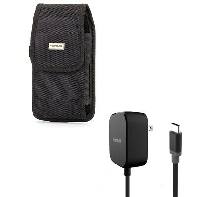 $ CDN41.40 • Buy Holster Rugged Case Belt Clip W 5ft Long 15W Fast Home Charger For Cell Phones