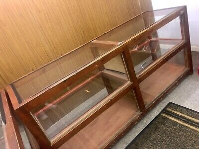Antique Retail Shop Counter, Display Unit, Stand, Glass Panels, Solid Wood • 375£