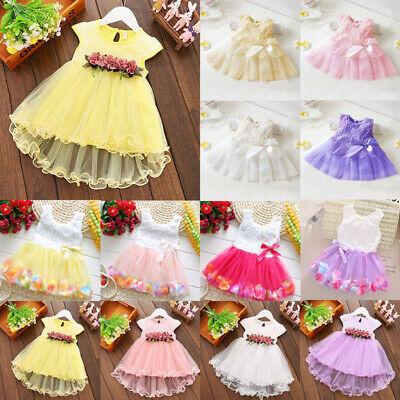 Baby Flower Girls Swing Dress Party Lace Tulle Tutu Wedding Bridesmaid Dresses • 6.45£
