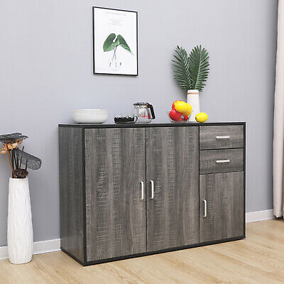 Grey Sideboard Storage Cupboard Display Cabinet Matt Sides With Drawers & Doors • 86.90£