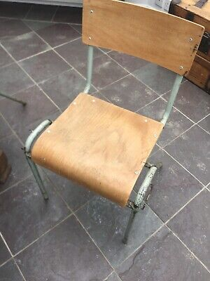 £70 • Buy 6 X Adult Size Vintage Retro French School Stacking Chairs Plywood 1950's 1960's