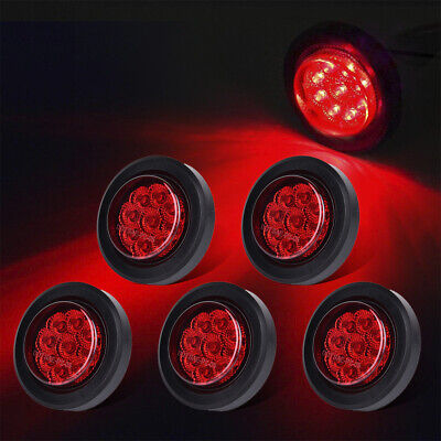 5) 2  Round Red Reflectors 9LED Side Marker Light Fit Trailer Truck RV Boat 12V • 23.05$