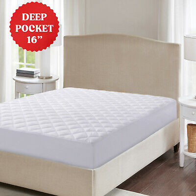 $ CDN18.97 • Buy Fitted Mattress Pad Cover Protector Deep Pocket Stretches Up To 16  All Sizes