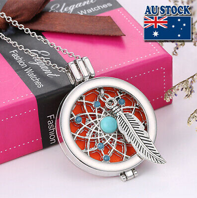 AU9.89 • Buy Aromatherapy Essential Oil Diffuser Feather Locket Pendant Chain Necklace