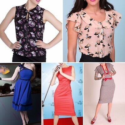 Bulk Clothing Bettie Page Tatyana Hell Bunny Dress Blouse Tops PinUp Vintage XS • 66.23£