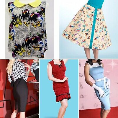 Bulk Clothing Bettie Page Tatyana Blouse Dresses Top Skirt PinUp Vintage Small • 77.27£