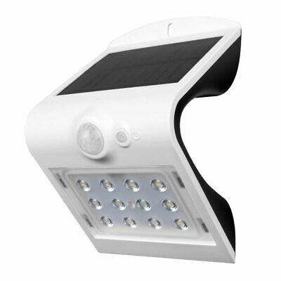 Luceco LED Solar Panel Sensor Outdoor Wall Mounted White Security Light • 13.95£
