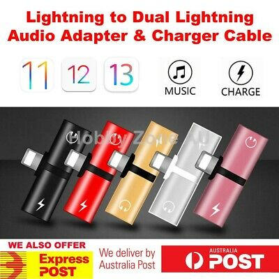 AU5.15 • Buy Dual Lightning Audio Earphone Adapter Charger Splitter For IPhone XR XS XS Max 8