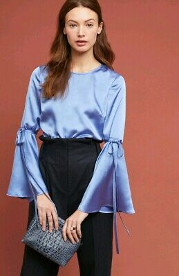 $ CDN38.76 • Buy New NWT Anthropologie Hutch Blue Bell Sleeved Shiny Satin Blouse Top Size XL