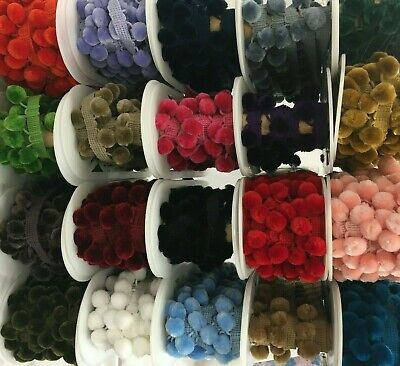 Luxury Velvet Feel POM POM Trim - 15mm Balls LOTS OF COLOURS By The Metre • 2£