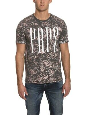 New Prps Goods & Co. Charcoal Gray Floral Graphic Crewneck Tee T-shirt • 18.70£