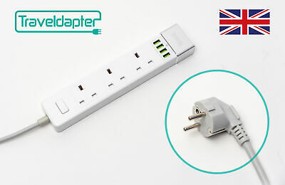 AU44.12 • Buy World Wide Travel Adapter THAILAND Extension Lead Multi 3 UK Plug 4 USB To 2 ...