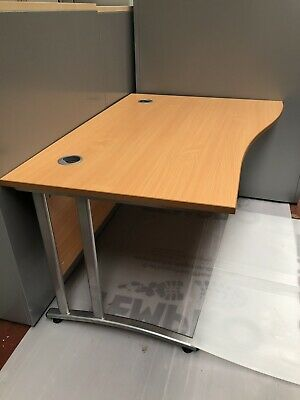 £65 • Buy 1400 X 1000 X 800 Beech Laminate Wave Desk On Silver Leg IDEAL FOR HOME OFFICE