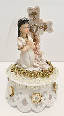 First Communion Girl Or Boy With Cross On Plastic Base Cake Topper Decoration • 22.40£