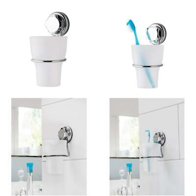 Bestlock Suction No Drilling Wall Mountable Toothbrush Holder With Cup Chrome An • 7.82£