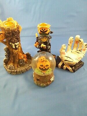 $ CDN11.24 • Buy Halloween Decorations Lot. Lot Of 3 Candle Holders And A Snow Globe. Look!