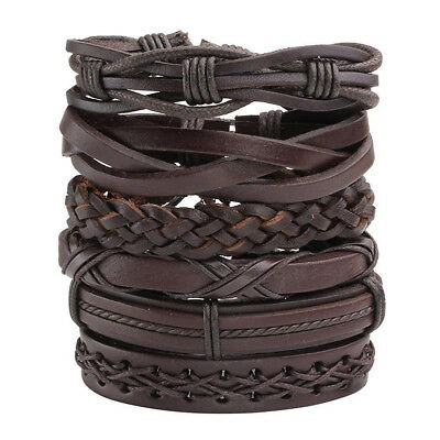 $10.93 • Buy 6pack Men Women Brown Braided Leather Bracelet For Cuff Wrap Wristband Set Gift