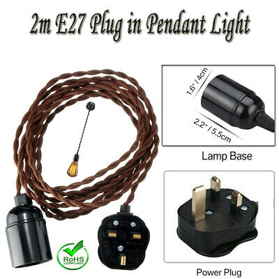 2m Twisted Fabric Flex Cable Plug In Pendant Lamp Light Set ES E27 Vintage Bulb • 17.22£