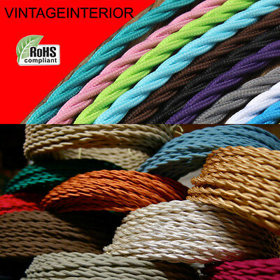 3Core Twisted Fabric Braided  Electric Cable Flex Vintage Lamp Multi Colours UK  • 3.77£