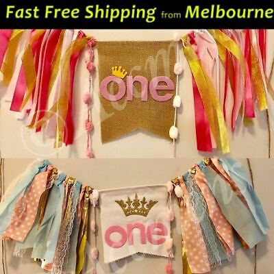 AU12.95 • Buy 1st Happy Birthday One Fabric Banner Photo Party Bunting Baby Girl Princess