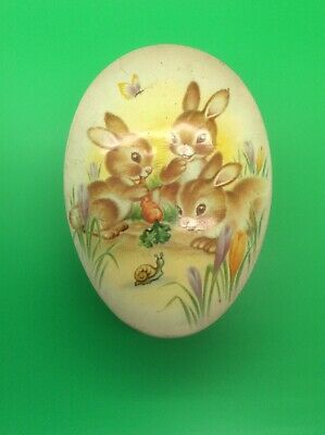 Vintage Egg Shaped  Sweet Tin With Bunny Rabbits - Advertising • 8.95£