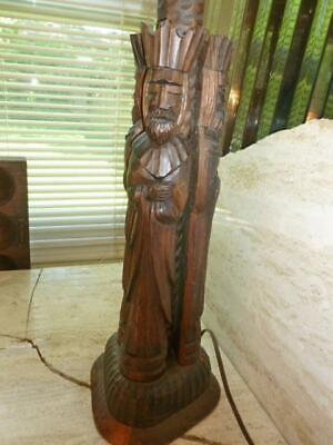 $51.95 • Buy Vintage Carved Wood Figural 3 King Table Lamp Medieval Gothic Figure 20  Tall