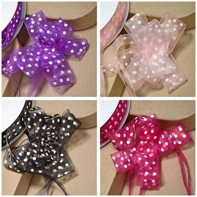 Large 38mm Organza Dotty Spots Pull Bow Quality Ribbon Gift Wrap Spotty Dots • 0.99£