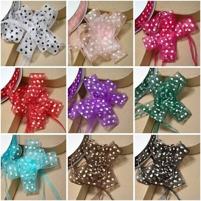 Medium 23mm Organza Dotty Spots Pull Bow Quality Ribbon Gift Wrap Spotty Dots • 1.09£