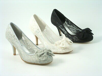 Ladies Women's Round Toe Lace Bow Wedding Shoes Bridesmaid  Prom Heels Sizes • 16.95£