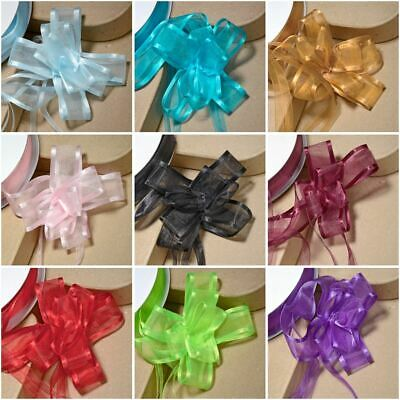 Medium 23mm Organza Pull Bow Quality Gift Wrap Ribbon Wedding Car Birthday Party • 0.99£