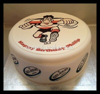 £9 • Buy Rugby Player Red Pre-cut Edible Icing Cake Topper Or Ribbon