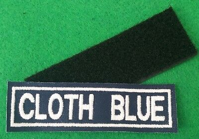 Velcro Blue Cloth 1 Line Personalised Name Patches Tag Biker Patch • 4.99£