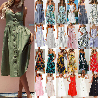 AU15.21 • Buy Summer Women Boho Holiday Strappy Floral Maxi Beach Sundress Party Long Dress