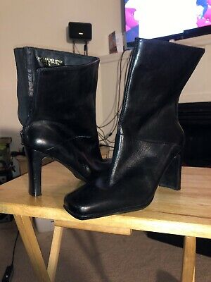 Zara Mid Calf Black Leather Boots • 25$