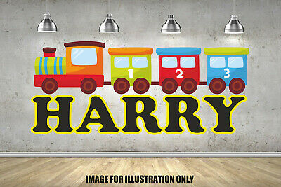 Cartoon Train Personalised Name Nursery Childrens Wall Stickers Vinyls • 13.99£