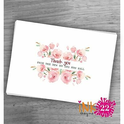 £4.15 • Buy Personalised Wedding Thank You Cards Postcards Simple Clean Pretty Design X 10