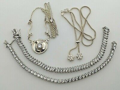 $ CDN130.15 • Buy Lot Sterling Silver 925 Clear Cubic Zirconia Cz 2 Tennis Bracelets & 2 Necklaces