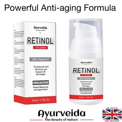 Night Face Cream Serum 3% Retinol-Collagen-Anti-aging-Moisturizer-20% Vitamin C • 12.99£