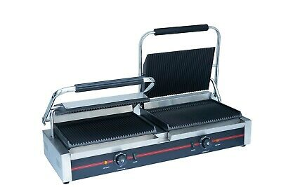 Sher Commercial Electric Double Contact Grill Grooved Panini Press Toaster  • 420£