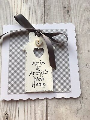 Handmade CARD Wooden Tag HOUSE New Home Personalised Grey Friends Names • 4.95£